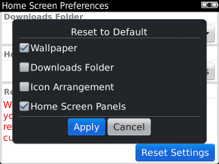 Reset to Default options con Apply