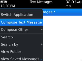Text Messages menu with Compose Text Message