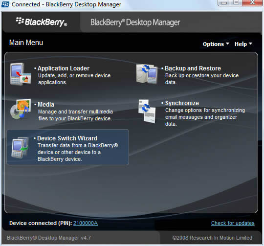 BlackBerry Desktop Manager with Device Switch Wizard