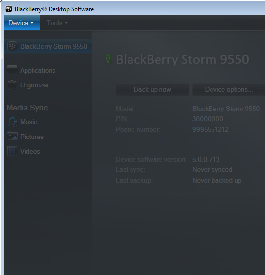 BlackBerry Desktop Software main screen with Device