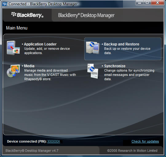 BlackBerry Desktop Manager main screen with Backup and Restore