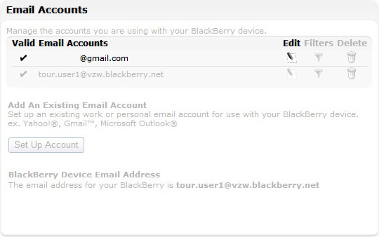Email account with Edit