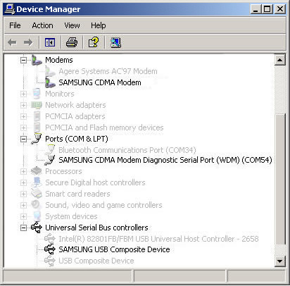 Windows Device Manager with installed devices