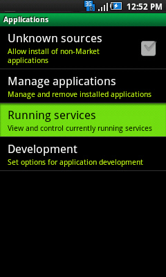 Applications with Running services