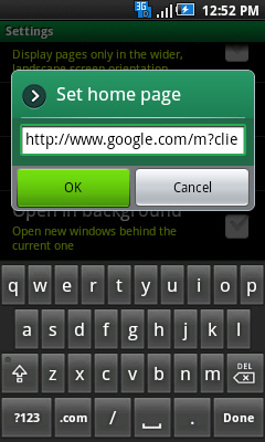 Set home page prompt with OK