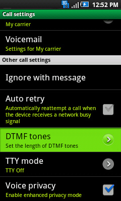 Call settings with DTMF Tones