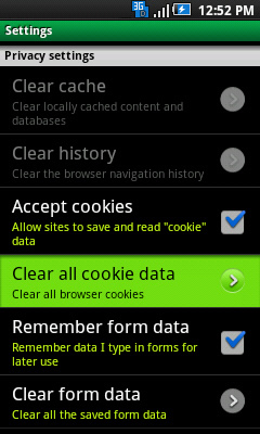 Settings with Clear all cookie data