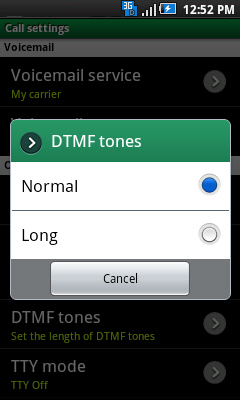 DTMF Tones with available settings