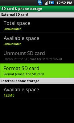 SD card & phone storage con Format SD card