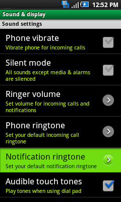Sound & display with Notification ringtone