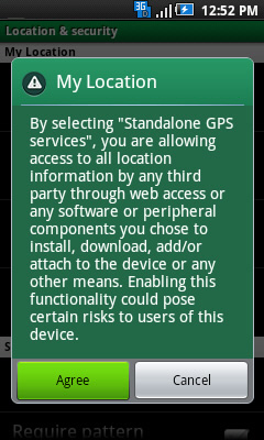 Standalone GPS services prompt with Agree