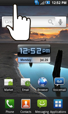 Home screen with status bar