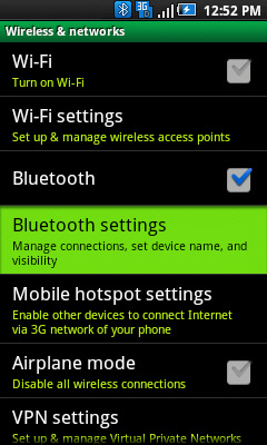 Wireless & networks with Bluetooth settings