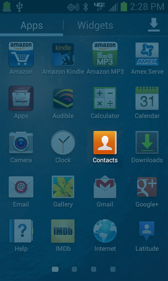 Apps screen Contacts