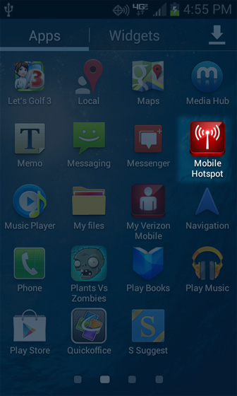 Apps screen with Mobile Hotspot