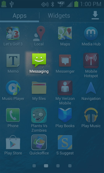 Apps screen Messaging
