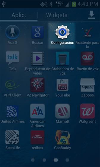 Pantalla Apps, Settings, Spanish