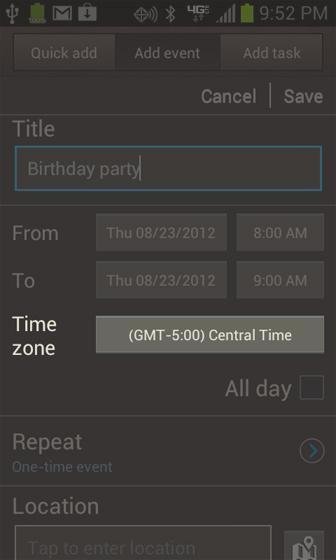 Opción Calendar Time Zone