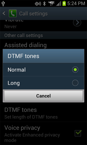DTMF tones settings
