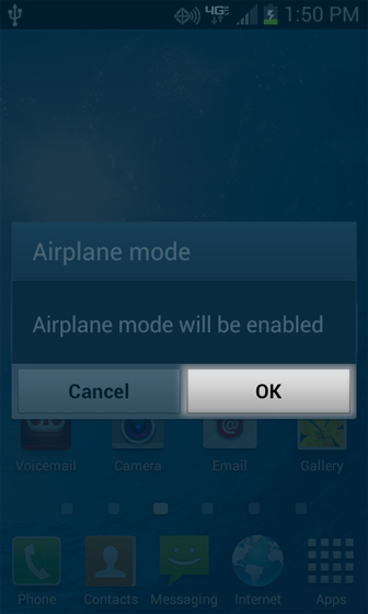 Home screen with Airplane mode select OK