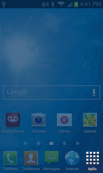 Pantalla de inicio, Apps, Spanish