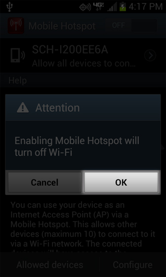 Mobile Hotspot settings with turn Wi-Fi off
