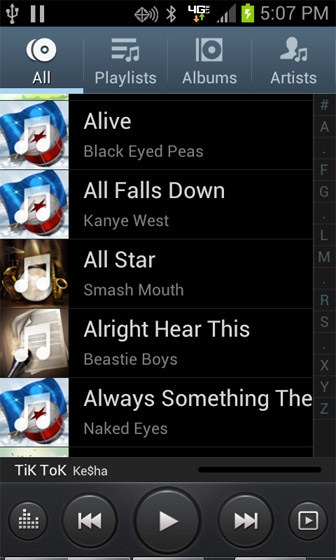 Music player with All tab