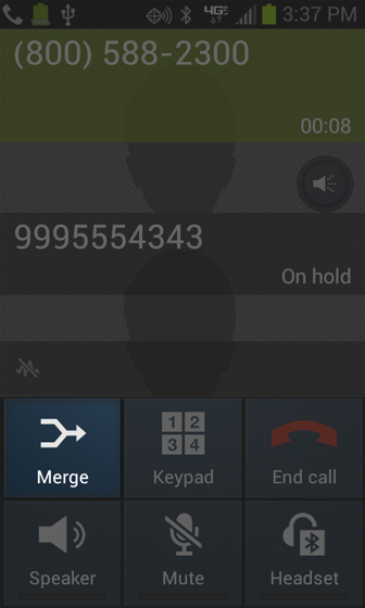 Call connected screen with Merge call