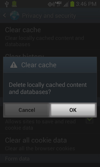 Browser Privacy and security Clear cache select OK