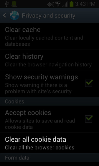 Browser Privacy and security select Clear all cookie data