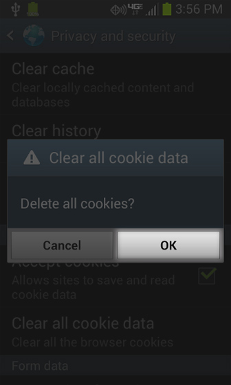 Browser Privacy and security Clear cookies select OK