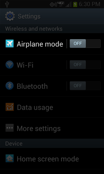 Settings menu with Airplane mode