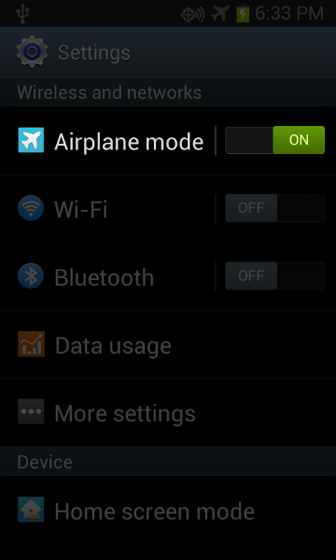 Airplane mode is active