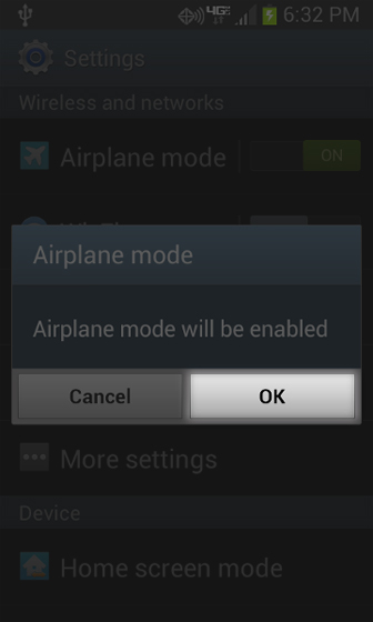 Settings menu with Airplane mode select OK