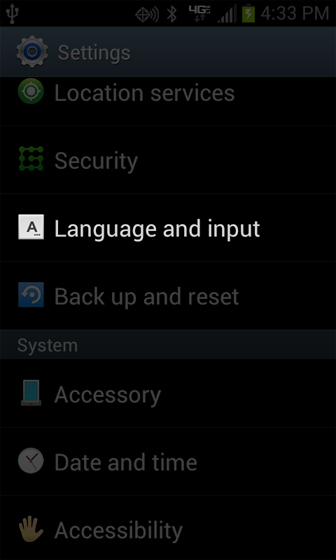 Settings Language and input
