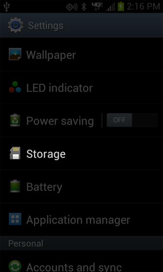 Settings con opción Storage