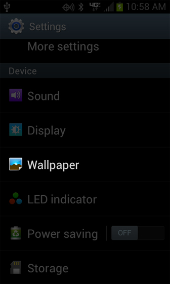 Settings screen menu with Wallpaper