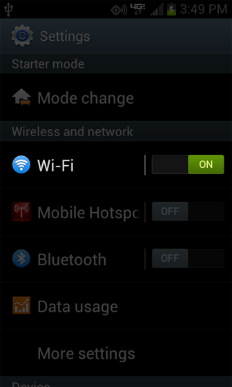 Settings with Wi-Fi options