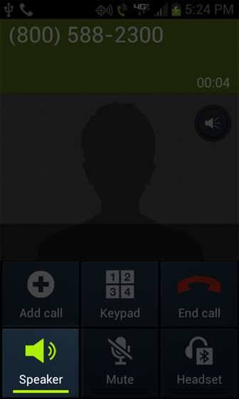 Call connected screen with Speakerphone