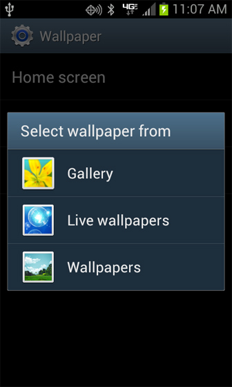 Wallpaper options select