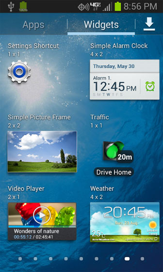 Widgets screen select a widget