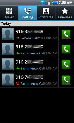 Lista de llamadas