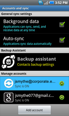 Exchange ActiveSync account