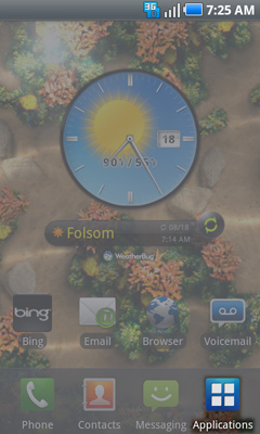 Home screen with Applications tab