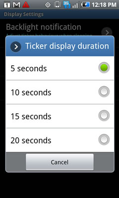 Select the Ticker display option