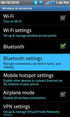 Configuraciones Bluetooth