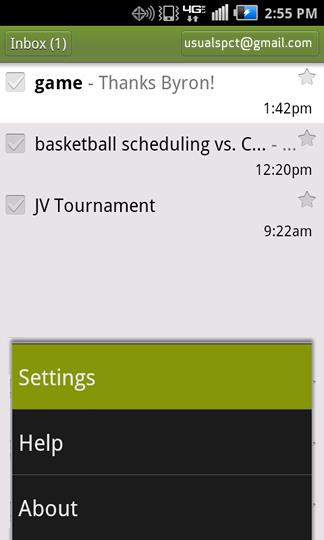 Inbox menu y Settings