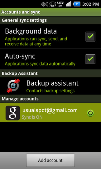 Accounts & sync settings y una cuenta