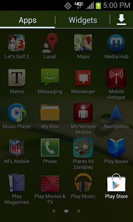 Menú Applications y Play Store