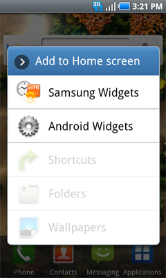 Home screen widget